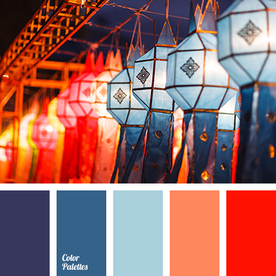 Dark blue and orange color palette ideas for Oriental colour palette